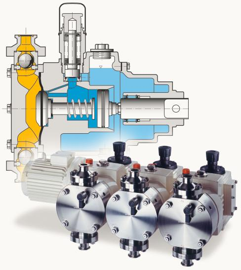 Modular hygienic diaphragm metering pumps process safety guaranteed 1 hygienic multiplex diaphragm metering pump view and sectional drawing ccuart Gallery
